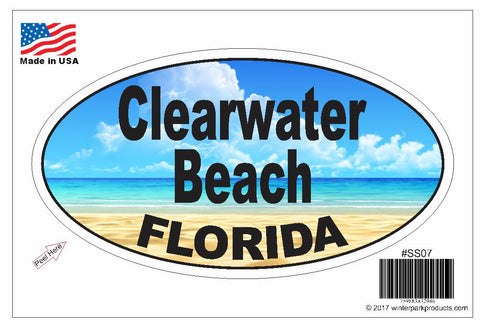 Clearwater Beach Florida Oval Bumper Sticker SS07 Wholesale