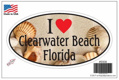 Clearwater Beach Florida Oval Bumper Sticker SS08 Wholesale