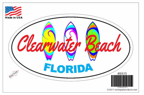 Clearwater Beach Florida Oval Bumper Sticker SS10 Wholesale