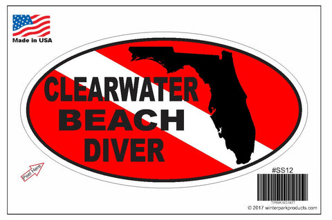 Clearwater Beach Florida Oval Bumper Sticker SS12 Wholesale