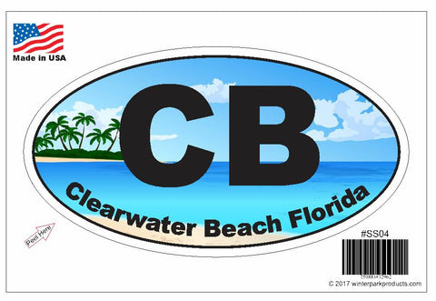 Clearwater Beach Florida Oval Bumper Sticker SS04 Wholesale