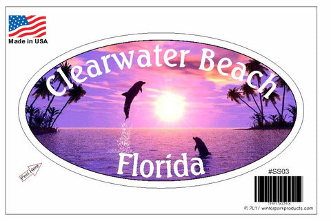 Clearwater Beach Florida Oval Bumper Sticker SS03 Wholesale