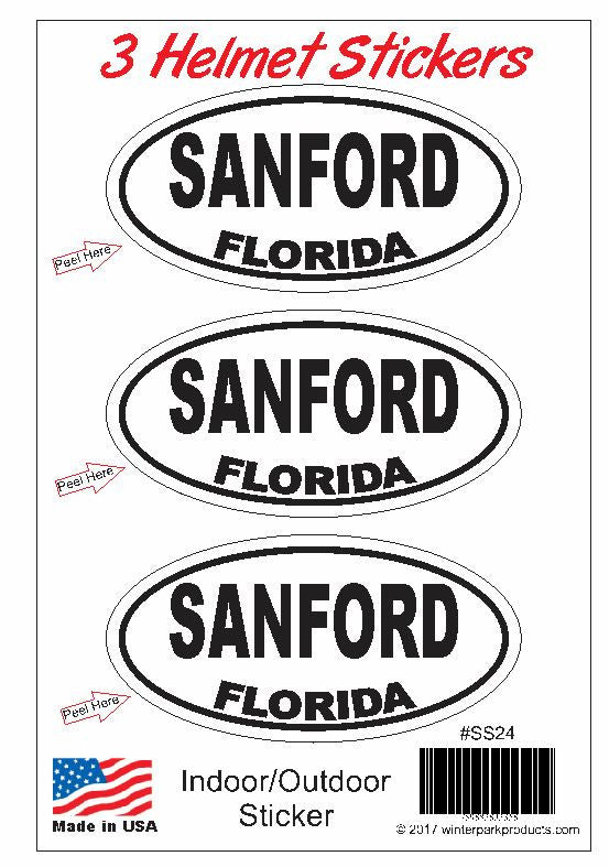 3 Pack Sanford Florida Helmet Sticker SS24 Wholesale