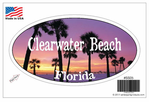 Clearwater Beach Florida Oval Bumper Sticker SS05 Wholesale