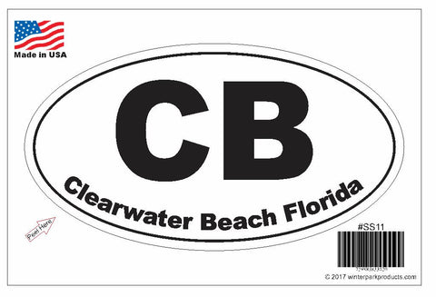 Clearwater Beach Florida Oval Bumper Sticker SS11 Wholesale