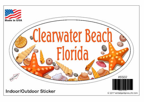 Clearwater Beach Florida Oval Bumper Sticker SS02 Wholesale