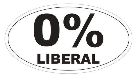 0% Liberal Sticker Oval Bumper Sticker or Helmet Sticker D3814 Anti Liberal