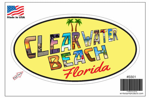 Clearwater Beach Florida Oval Bumper Sticker SS01 Wholesale Fundraiser