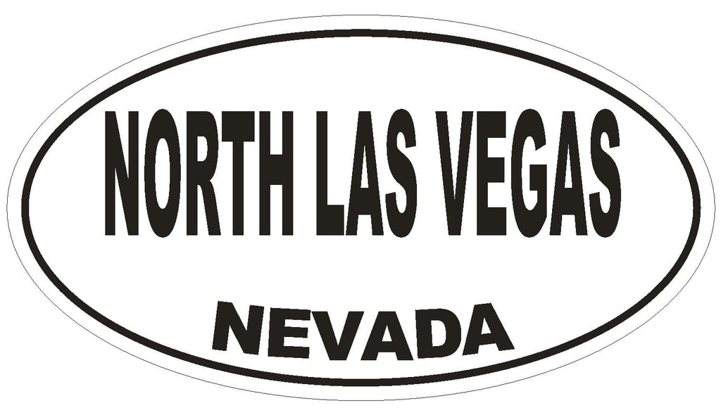 North Las Vegas Nevada Oval Bumper Sticker or Helmet Sticker D2891 Euro Oval - Winter Park Products