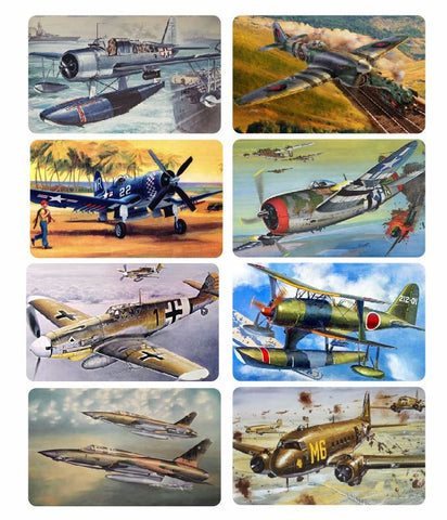 8 Piece Military Aircraft Sticker Set Vintage Style V13