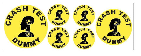 6 Piece Set Crash Dummy Sticker Decal R4646 $10.75 VALUE Only $5.99