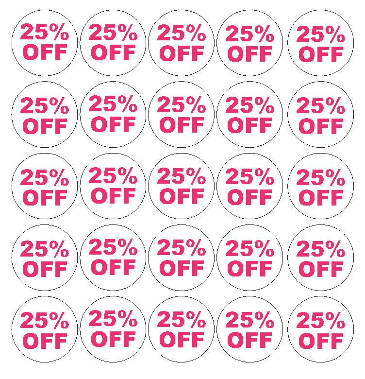 Pink 25% Percent Off Sale Sticker Retail Store FLEA MARKET Boutique #D61P - Winter Park Products