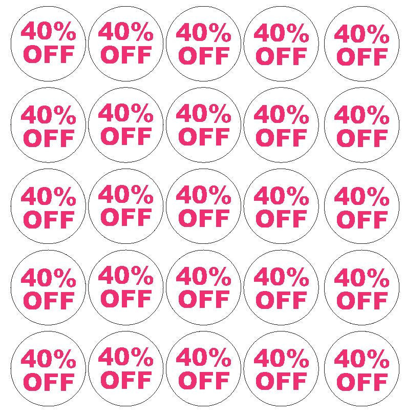Pink 40% Percent Off Sale Sticker Retail Store FLEA MARKET Boutique #D56P - Winter Park Products