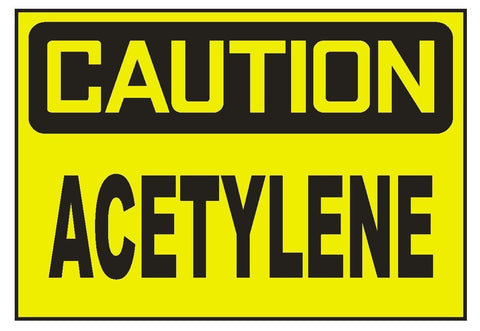 Caution Acetylene Sticker Safety Sticker Sign D685 OSHA - Winter Park Products