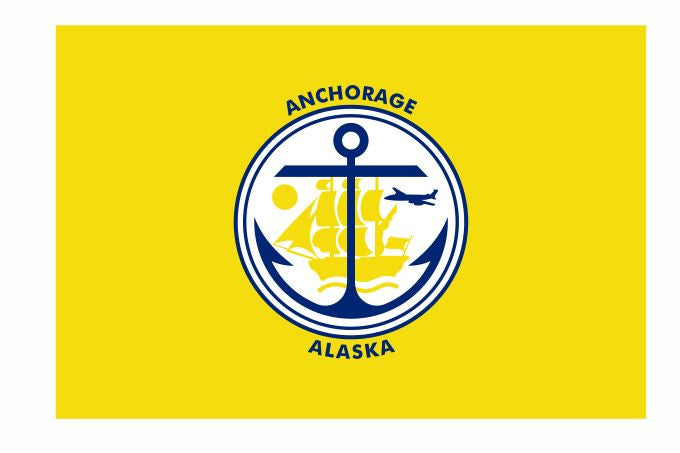 Anchorage Alaska Flag Sticker Decal F687 - Winter Park Products