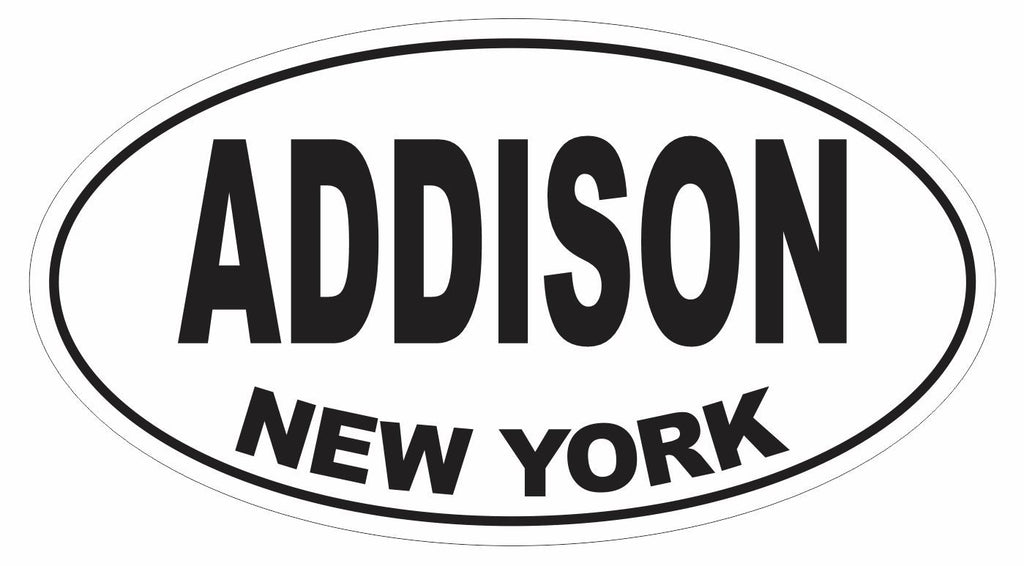 Addison New York Oval Bumper Sticker or Helmet Sticker D3064 Euro Oval - Winter Park Products