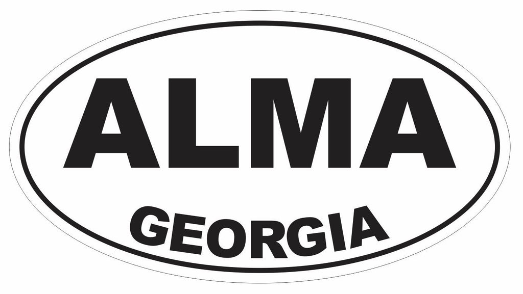 Alma Georgia Oval Bumper Sticker or Helmet Sticker D2982 Euro Oval - Winter Park Products