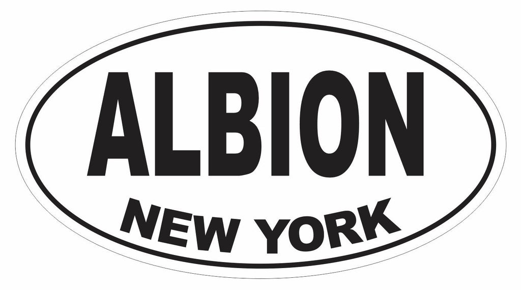 Albion New York Oval Bumper Sticker or Helmet Sticker D3066 Euro Oval - Winter Park Products