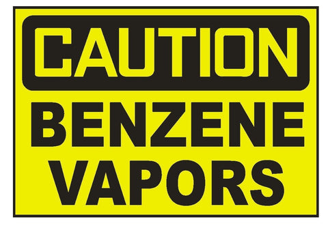 Caution Benzene Vapors Sticker Safety Sticker Sign D694 OSHA - Winter Park Products
