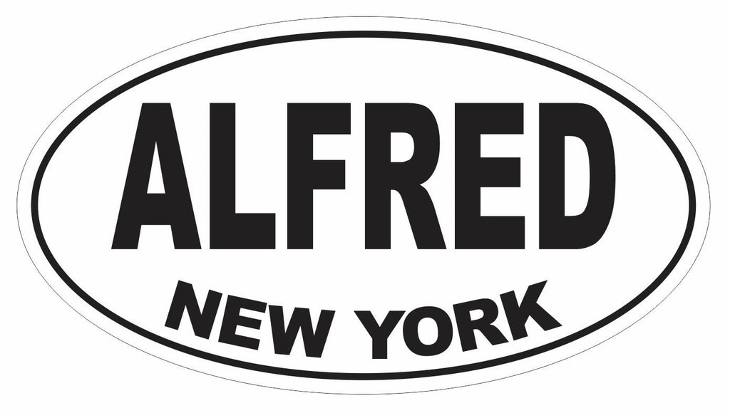 Alfred New York Oval Bumper Sticker or Helmet Sticker D3068 Euro Oval - Winter Park Products