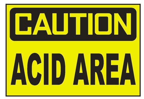 Caution Acid Area Sticker Safety Sticker Sign D687 OSHA - Winter Park Products