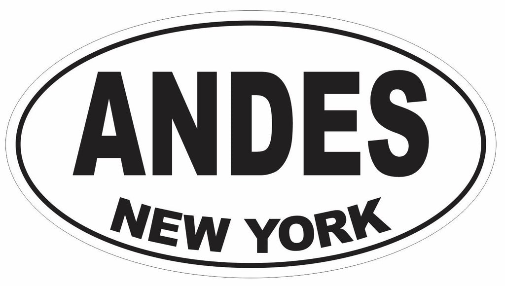 Andes New York Oval Bumper Sticker or Helmet Sticker D3077 Euro Oval - Winter Park Products