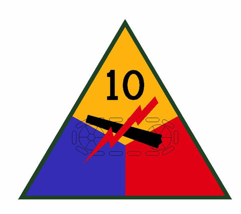 10th Armored Division Sticker Military Decal M359 - Winter Park Products