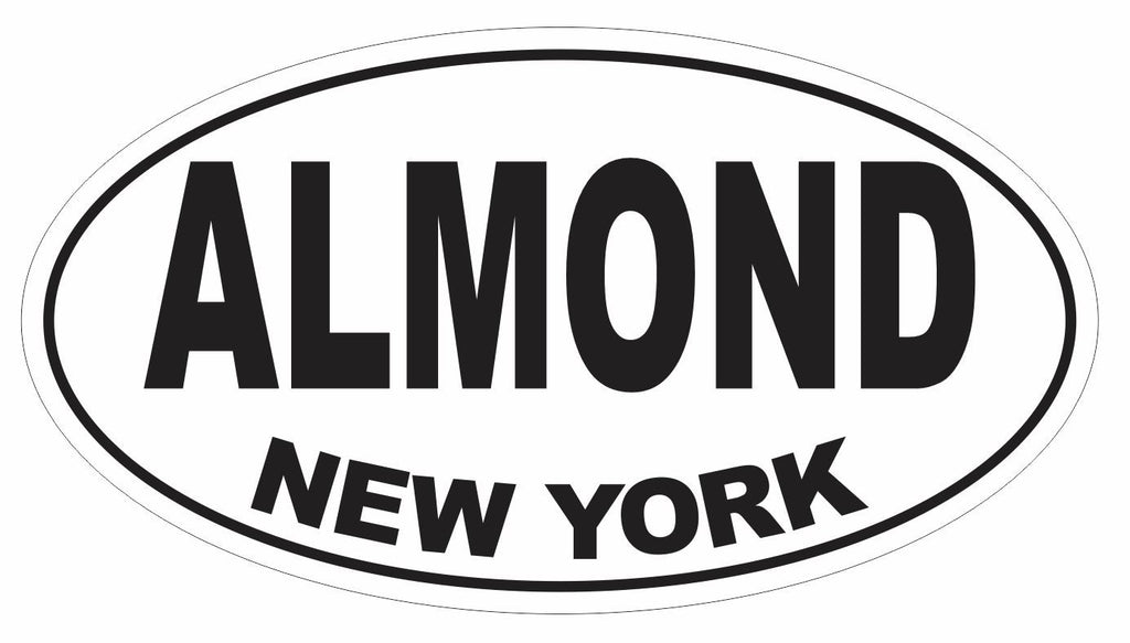 Almond New York Oval Bumper Sticker or Helmet Sticker D3071 Euro Oval - Winter Park Products