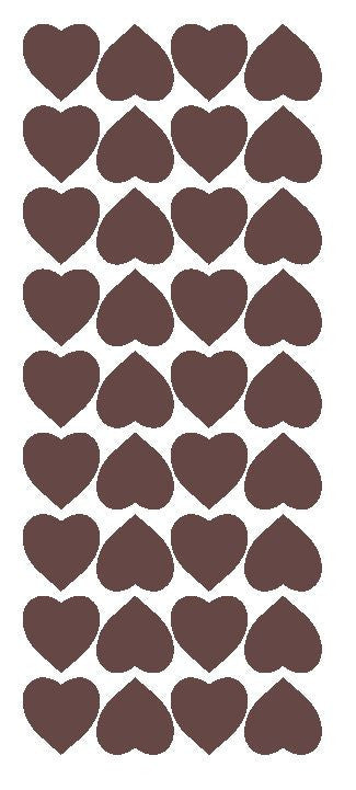 "Brown 1"" Heart Stickers BRIDAL SHOWER Wedding Envelope Seals School arts & Crafts - Winter Park Products"