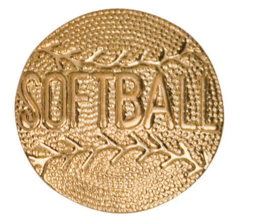 Gold Finish Metal Softball Pin TIE TACK Sport School Varsity Insignia Chenille - Winter Park Products