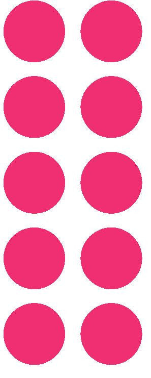 "1-1/2"" Hot Pink Round Color Coded Inventory Label Dots Stickers - Winter Park Products"