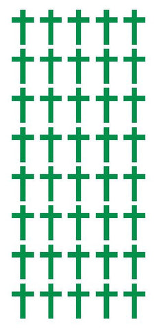 "1"" Green Cross Stickers Envelope Seals Religious Church School arts Crafts - Winter Park Products"