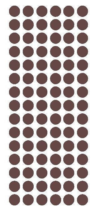 "1/2"" BROWN Round Vinyl Color Coded Inventory Label Dots Stickers - Winter Park Products"