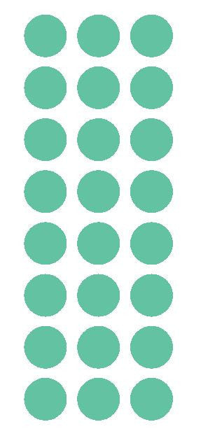 "1"" Mint Green Round Vinyl Color Code Inventory Label Dot Stickers - Winter Park Products"
