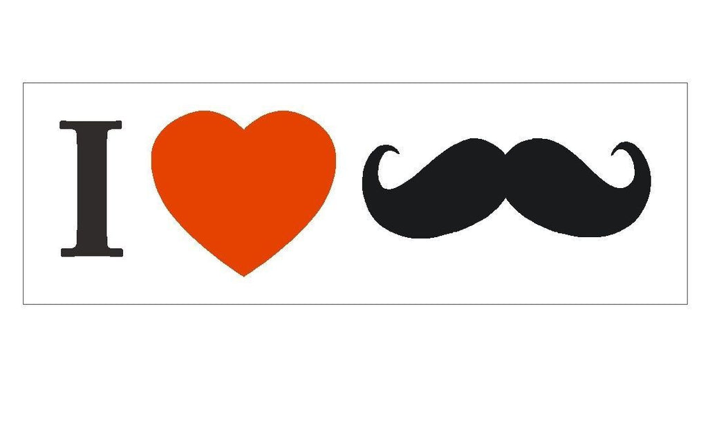 I Love Heart Mustaches FUNNY Bumper Sticker or Helmet Sticker D285 - Winter Park Products