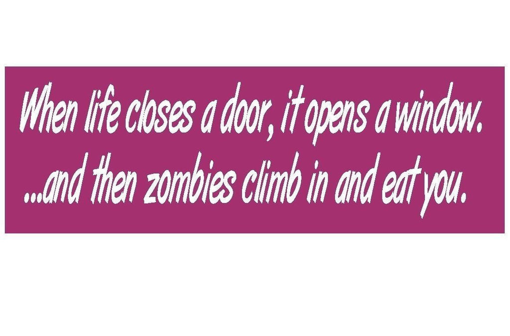 Zombie Funny Bumper Sticker or Helmet Sticker MADE IN THE USA D112 - Winter Park Products