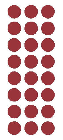 "1"" Burgundy Round Vinyl Color Code Inventory Label Dot Stickers - Winter Park Products"