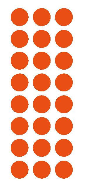 "1"" Orange Round Vinyl Color Code Inventory Label Dot Stickers - Winter Park Products"