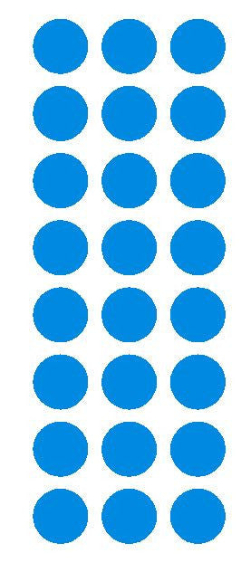"1"" Medium Blue Round Vinyl Color Code Inventory Label Dot Stickers - Winter Park Products"