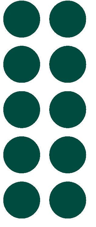 "1-1/2"" Dk Green Round Color Coded Inventory Label Dots Stickers - Winter Park Products"