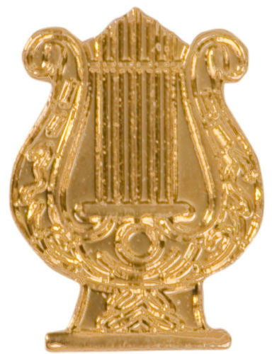 Gold Finish Metal Music Lyre Pin TIE TACK Band School Varsity Insignia Chenille - Winter Park Products