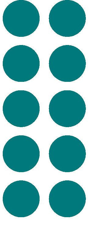 "1-1/2"" Turquoise Round Color Coded Inventory Label Dots Stickers - Winter Park Products"