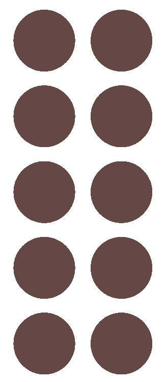 "2"" Brown Round Color Coded Inventory Label Dots Stickers - Winter Park Products"