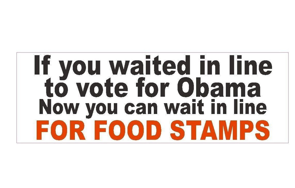 Anti Obama Food Stamps Political Bumper Sticker or Helmet Sticker D174 - Winter Park Products