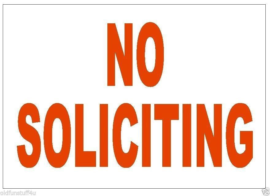 No Soliciting Sticker Stop Salespeople Safety Business Sign Decal Label D236 - Winter Park Products