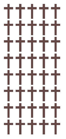 "1"" Brown Cross Stickers Envelope Seals Religious Church School arts Crafts - Winter Park Products"