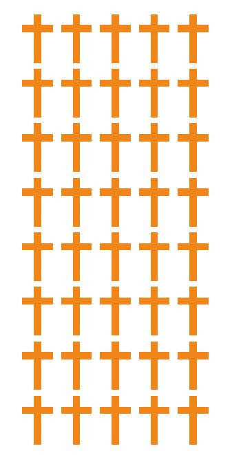 "1"" Lt Orange Cross Stickers Envelope Seals Religious Church School arts Crafts - Winter Park Products"