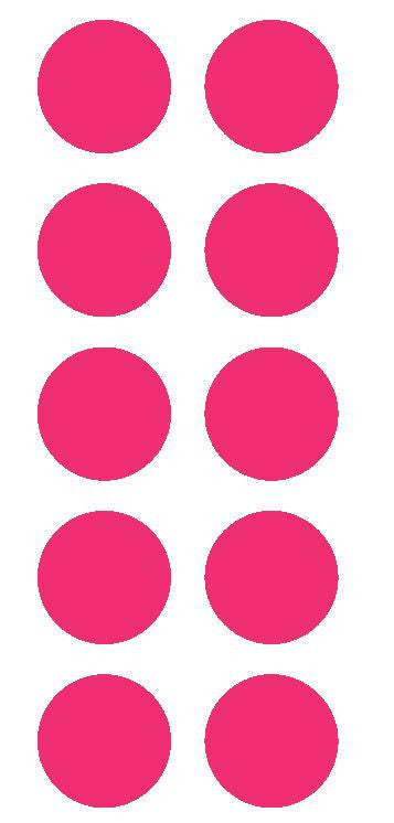 "2"" Hot Pink Round Color Coded Inventory Label Dots Stickers - Winter Park Products"