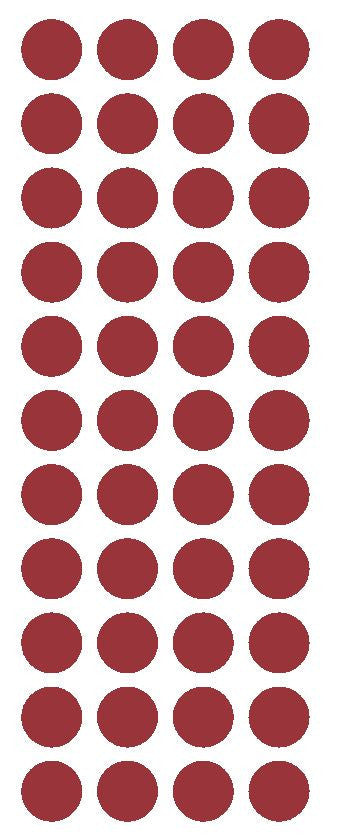 "3/4"" Burgundy Round Color Code Inventory Label Dot Stickers - Winter Park Products"