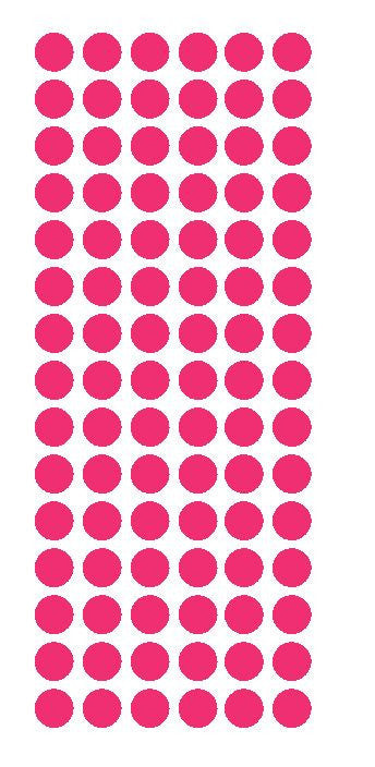 "1/2"" HOT PINK Round Vinyl Color Coded Inventory Label Dots Stickers - Winter Park Products"